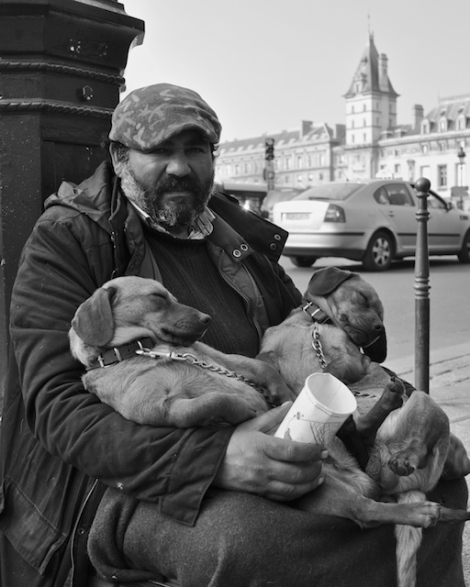 Homeless man and his two puppies on the streets of Paris.