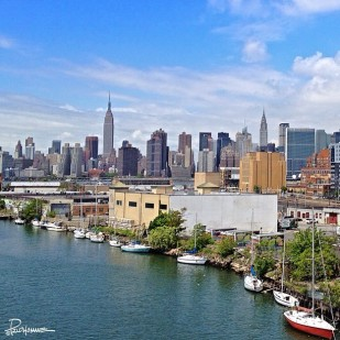 Downtown Manhattan as viewed from the Pulaski Bridge.