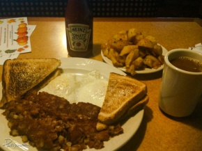 Corn beef hash, potatoes, wheat toast and coffee starts my work day whenever I travel.