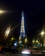 The lights on the Eiffel tower sparkle and blink rapidly in the night like a humongous Christmas tree.