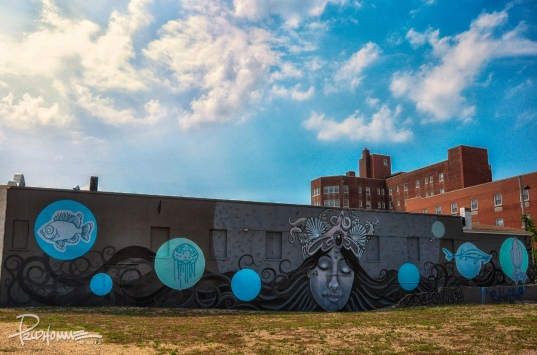 I love this mural on the side of a historic movie theatre in Asbury Park, NJ. It has a certain Lovecraftian feel to it.