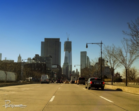 Driving towards Freedom Tower.