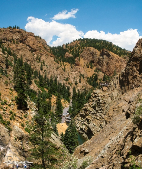 Atop of the falls (and long winded), I take four pictures of this box canyon and stitch the shots together.