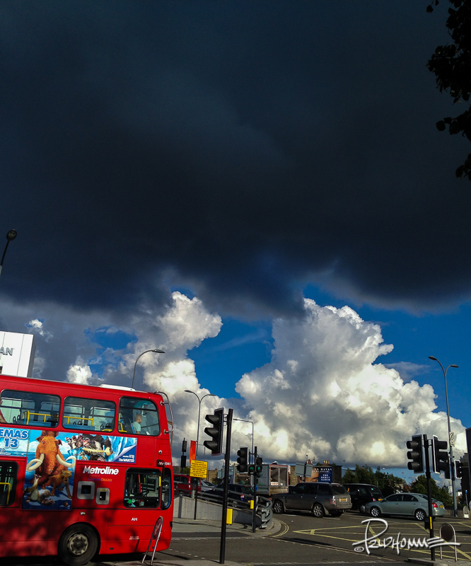 Upon emerging from the Underground, dark clouds threaten to spoil an otherwise sunny day...