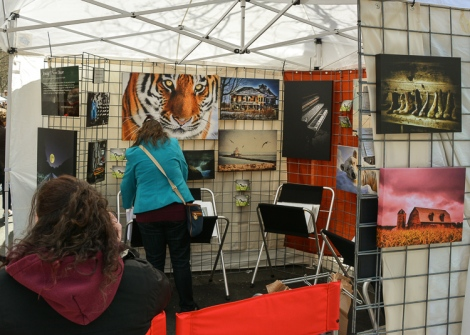 Emily Stauring sits and talks on the phone while customers peruse her photography.