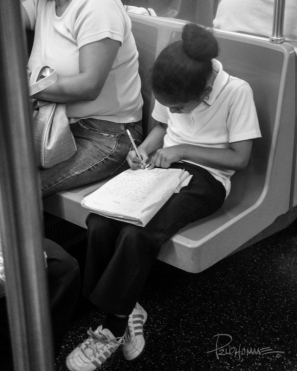 """My """"smart cookie"""" as I used to call her, takes the time to write what she learned on the train ride back to school from a school trip."""