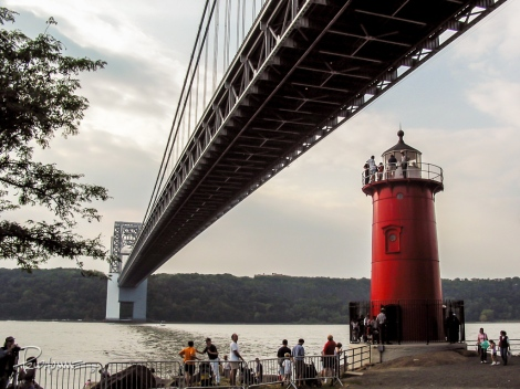 The Little Red Lighthouse and the Great Gray Bridge in Fort Washington Park.