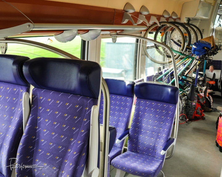 While on the TGV from Paris to Rennes, I noticed this bike rack on the train. Great idea!