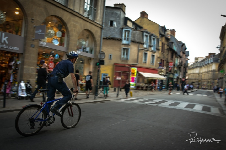 Police patrolling the streets of Rennes.