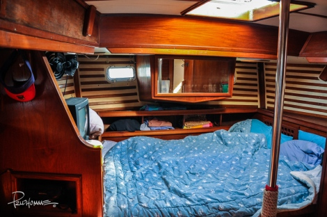 This is the first bedroom located at the back of the ship.