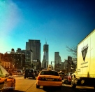 Hustling through morning traffic on the West Side Highway.