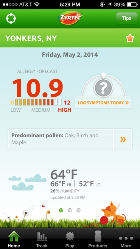 According to Zyrtec, allergy forecast is 10.9. Yikes!!!